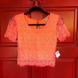 NWT Charlotte Russe Orange lace crop top blouse
